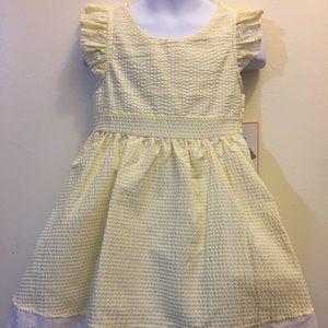 Girls Yellow Seersucker Easter Dress NWT